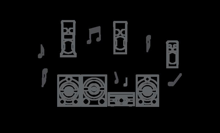 Conecta varios sistemas de sonido mediante Bluetooth®